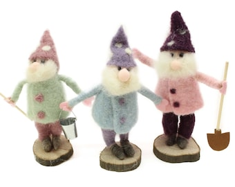Christmas Decoration/ Standing dwarfs/Needle Felted Christmas Ornament/Felted Santa