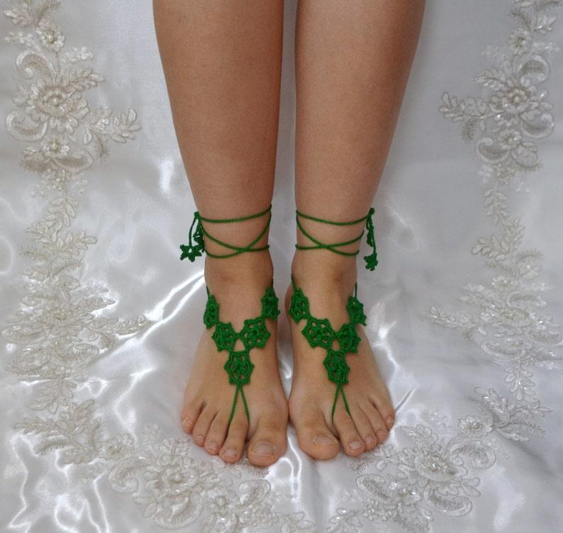 Verde Algodón Sandalias BodaEtsy Crochet Descalzas TXiOPZuk