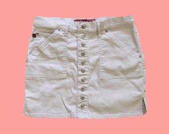 781ca2451c7cf5 Y2K Button Beige Skirt