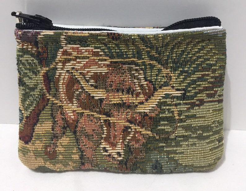Western horse cowboy longhorn steer tapestry zipper top pouch /& coin purse gift set handmade mens