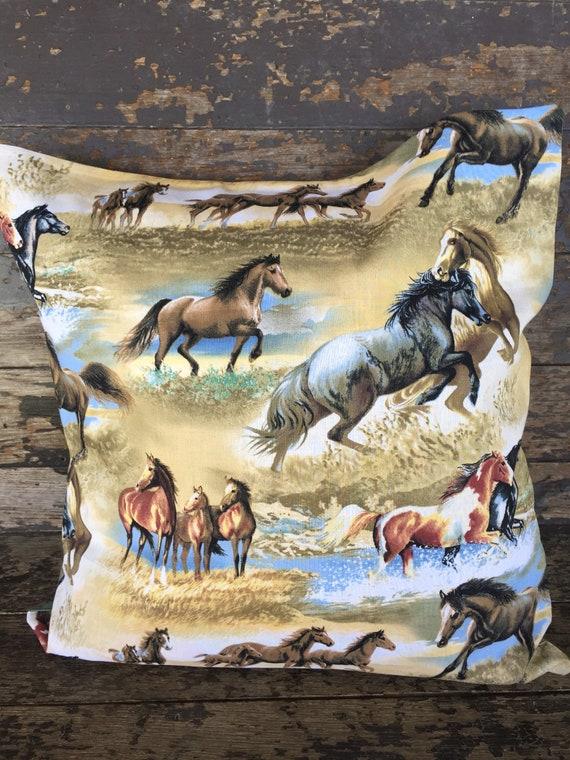 HORSE SHAM ACCENT THROW PILLOW COVER ENVELOPE BACK 16X16 NEW HANDMADE