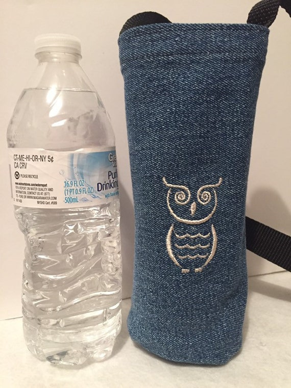 WATER BOTTLE HOLDER CARRIER DOG PAW PRINTS  RECYCLED DENIM HIKERS WALKERS