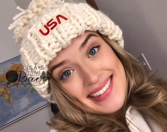 91d5baa3bf8 USA Olympic Hat  Chloe Kim Inspired Hat  2018 Olympics Winter Hat Snowboarder  Hat
