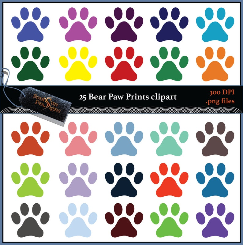 Bear Paw Print Footprint Pattern Clip Art Party Clipart image 0