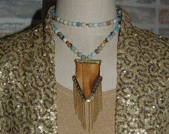 Natural Ox Bone Arrowhead, Amazonite Long Beaded Necklace, Boho Necklace, Southwestern, Arrowhead Pendant