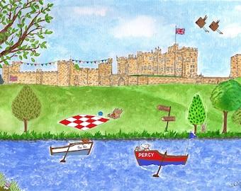 Alnwick Castle, Northumberland - Print, Mug, Card, Magnet, Mouse mat by Zoe Emma Scott