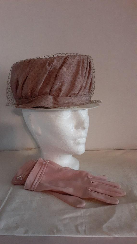 vintage women's hat retro pink veil dusty rose gl… - image 2