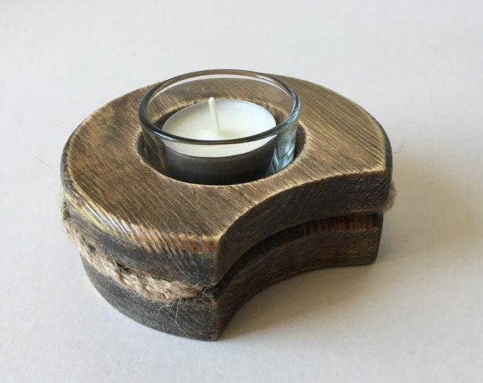 Wooden Tea Light Holder, add on, glass insert, soy wax tea light
