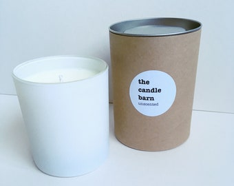 Unscented soy wax candle with a tube gift box