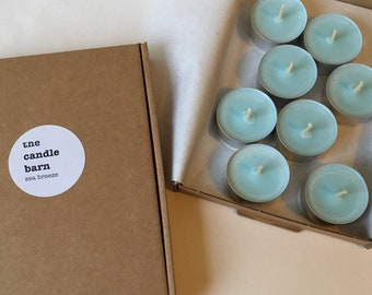 Box of 8 Sea Breeze scented soy wax tea light candles