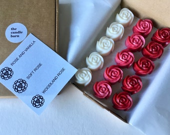 Rose shaped scented wax melts in 3 rose fragrances, box of 15