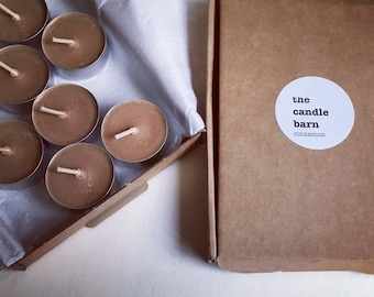 Box of 8 Cinnamon scented soy wax tea light candles