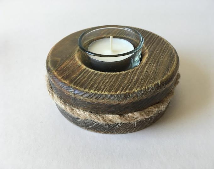 Wooden Tea Light Holder , glass insert,  soy wax tea light