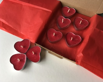Box of 8 Rose & Vanilla scented, heart shaped soy wax tea light candles