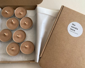 Box of 8 Cocoa and Log Fire  scented soy wax tea light candles