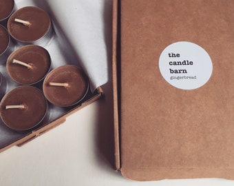 Box of 8 Gingerbread scented soy wax tea light candles
