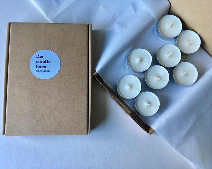 Box of 8 Fresh Linen scented soy wax tea light candles