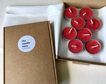 Box of 8 Strawberry scented soy wax tea light candles