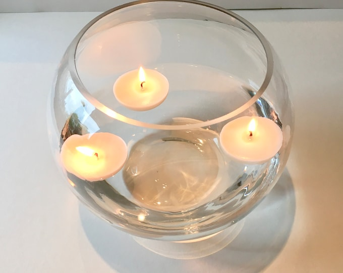 Unscented soy wax floating candles, handmade, natural, vegan, box of 3