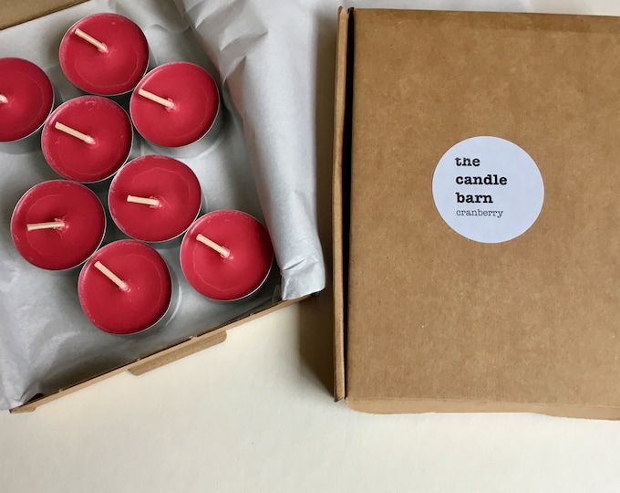 Box of 8 Cranberry scented soy wax tea light candles
