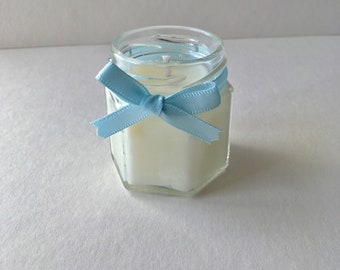 Baby Shower gift candle, baby powder scented in blue ribbon