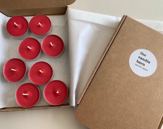 Box of 8 Spiced Apple scented soy wax tea light candles