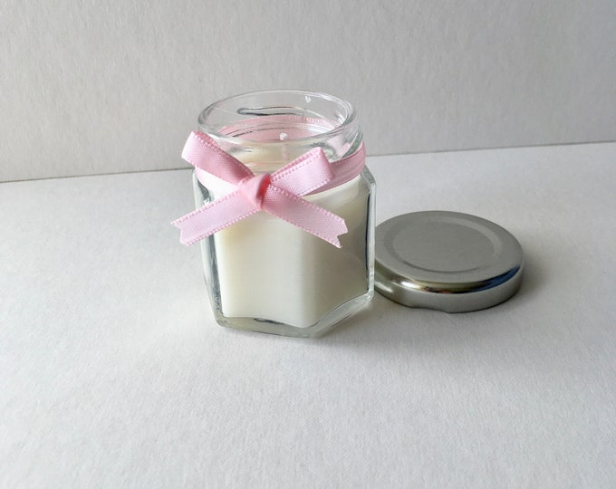 Baby Shower gift candle, baby powder scented in pink ribbon