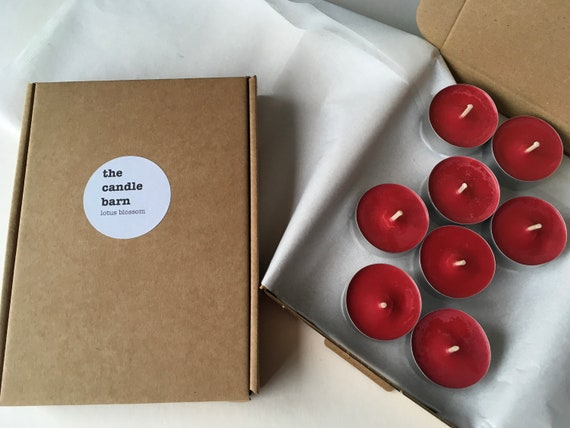 Box of 8 Lotus Blossom scented soy wax tea light candles