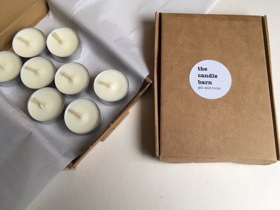 Box of 8 Gin and Tonic scented soy wax tea light candles