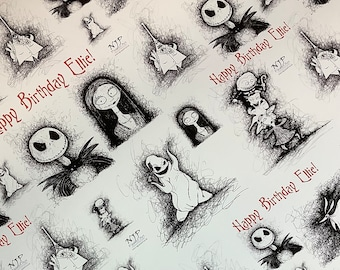 Custom Nightmare Before Christmas Wrapping paper, personalised gift wrap set with tags and ribbon from hand drawn artwork