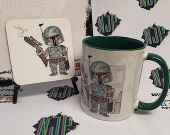 Boba Fett Star Wars Mandalorian mug and coaster set, from hand drawn artwork. Can be personalised