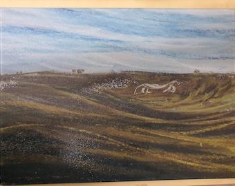 Wiltshire White Horse chopping board, The Ridgeway, scenery original pastel art glass  cutting board worktop saver countertop protector