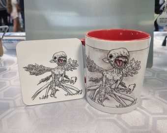 The Tooth Fairy, Toothfairy from Hellboy 2. Mug and coaster set, from hand drawn artwork. Can be personalised