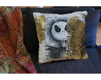 Nightmare before Christmas sequin mermaid cushion with Jack or Sally. Can be personalised