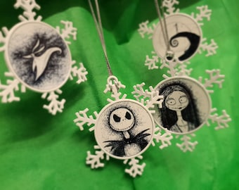Nightmare Before Christmas, double sided metal snowflake decorations from hand drawn art