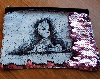 Groot sequin pouch, make up bag, pencil case in pink blue or black