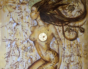 """MIND & HEART, Mixed Media, Original Oil Painting on Large Canvas, 24K gold leaf, 30"""" x 40"""""""