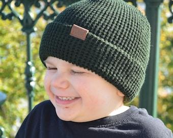 dee5f8efaa4 waffle Beanie - Forest Green - Kids Beanie - Slouchy Beanie - Kids Hat - Hipster  beanie - Hipster Hat