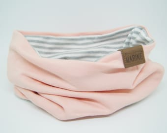 Twin Scarf - Tender Pink and Grey Stripes - Neck Warmer - Kids Scarf