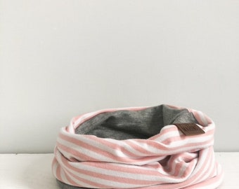Twin Scarf - Mellow Rose Stripes and  Gray Neck Warmer - Kids Scarf
