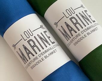 Baby swaddle blanket - Bamboo swaddle blanket - baby blanket - Green Bottle and Blue Ocean
