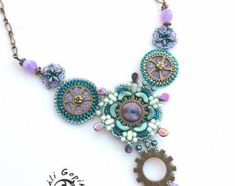 "Beaded necklace, Steampunk jewelry "" Samay"""