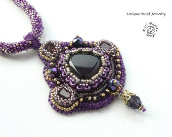 "Bead embroidered necklace "" Atman"""