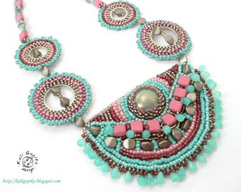 "Bead embroidered necklace ""Padma"""