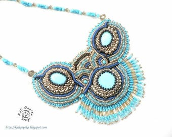 "Bead embroidered necklace ""Akuti"""