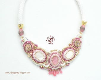 "Bead Embroidered Necklace ""Rose Queen"""