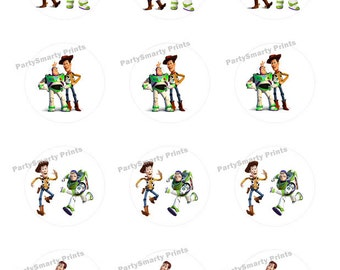 Toy Story Woody and Buzz 2 inch Round - Digital Dowload - Cupcake Topper - Toy Story Sticker - Toy Story Party
