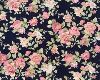 Black floral fabric etsy floral cotton fabric beatiful flower on black background cute 100 quilting cotton fabric by yard fat quarter half yard yard mightylinksfo