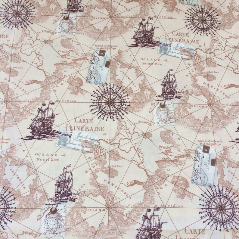 Map Fabric By The Yard World Map Fabric Vintage Map Print Etsy