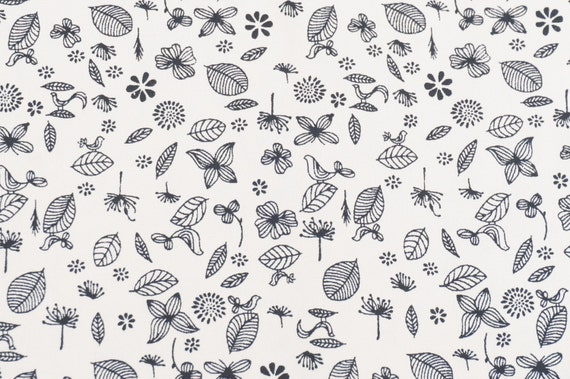 Leaf flower fabric black and white color 100 cotton fabric etsy image 0 mightylinksfo